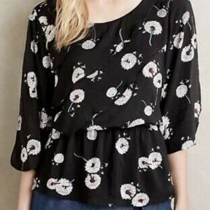 Anthropologie Deletta Wished Blooms Ruffle Top